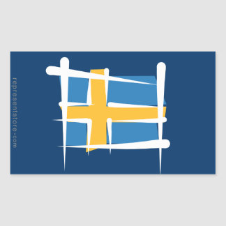 Sweden Brush Flag Rectangular Sticker