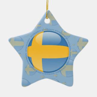 Sweden Bubble Flag Ceramic Ornament