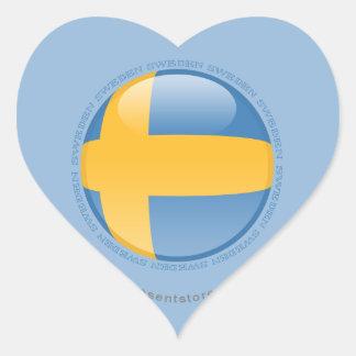 Sweden Bubble Flag Heart Sticker