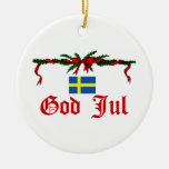 Sweden Christmas Double-Sided Ceramic Round Christmas Ornament