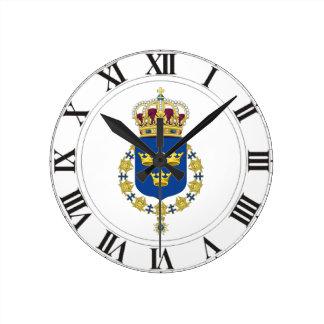 Sweden Coat of Arms Round Clock