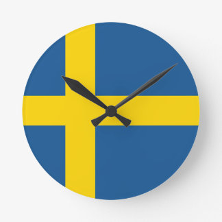 sweden country flag nation symbol round clock