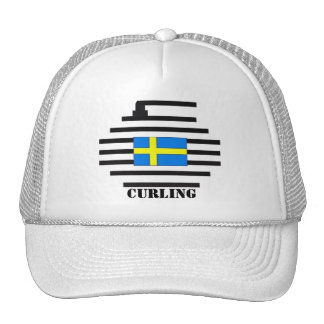 Sweden Curling Trucker Hat