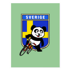 Postcard with Swedish Cycling Panda design