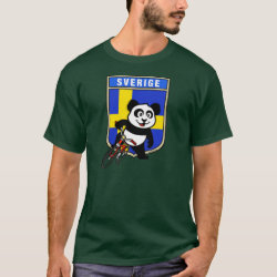 Men's Basic Dark T-Shirt with Swedish Cycling Panda design