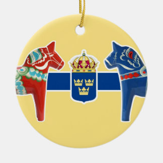 Sweden Dala Coat of Arms Ceramic Ornament