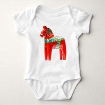 Sweden Dala Horse Baby Bodysuit