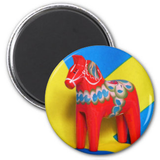 Sweden Dala Horse 2 Inch Round Magnet