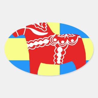 Sweden Dala Horse Oval Sticker