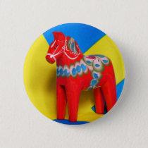 Sweden Dala Horse Pinback Button
