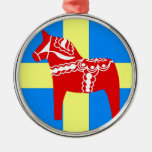 Sweden Dala Horse Round Metal Christmas Ornament