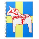 Sweden Dala Horse White Spiral Note Book