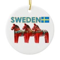 Sweden Dala Horses Ceramic Ornament