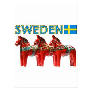 Sweden Dala Horses Postcard