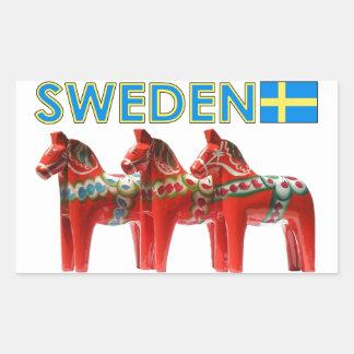 Sweden Dala Horses Rectangular Sticker