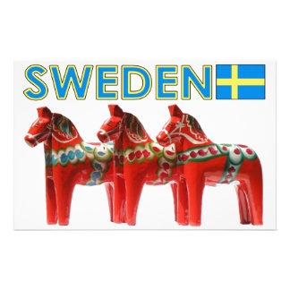 Sweden Dala Horses Stationery Paper
