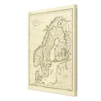 Sweden, Denmark, Norway outline Canvas Print