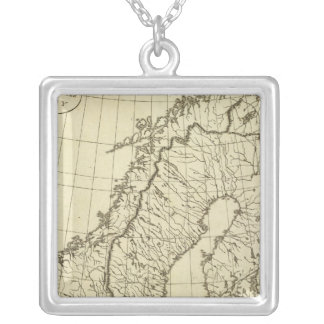 Sweden, Denmark, Norway outline Square Pendant Necklace