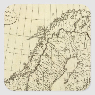 Sweden, Denmark, Norway outline Square Sticker