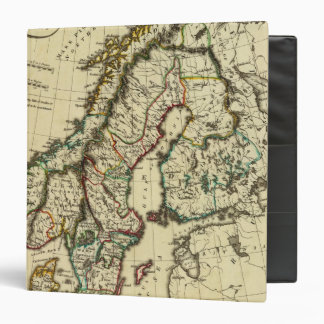 Sweden, Denmark, Norway with boundaries outlined 3 Ring Binder