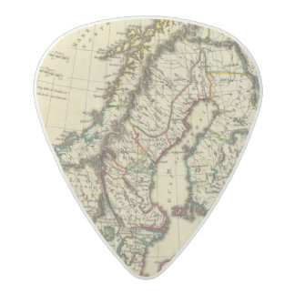 Sweden, Denmark, Norway with boundaries outlined Acetal Guitar Pick