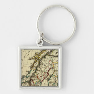 Sweden, Denmark, Norway with boundaries outlined Keychain