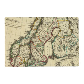 Sweden, Denmark, Norway with boundaries outlined Laminated Placemat