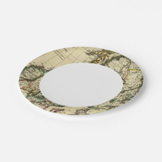 Sweden, Denmark, Norway with boundaries outlined Paper Plate