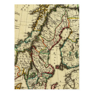 Sweden, Denmark, Norway with boundaries outlined Postcard