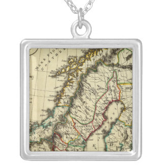 Sweden, Denmark, Norway with boundaries outlined Square Pendant Necklace