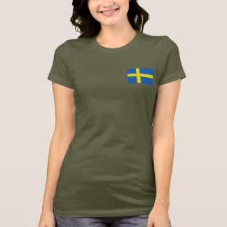 Sweden Flag and Map dk T-Shirt