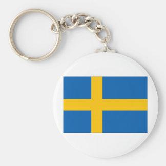 Sweden Flag Basic Round Button Keychain