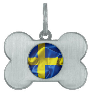 Sweden Flag Bone Pet Tag