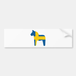 Sweden Flag Dala Horse Bumper Sticker