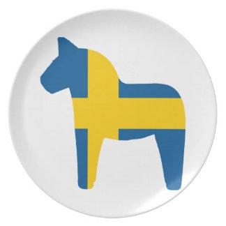 Sweden Flag Dala Horse Dinner Plate