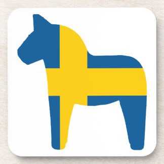 Sweden Flag Dala Horse Drink Coaster