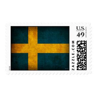 Sweden Flag Distressed Postage Stamps
