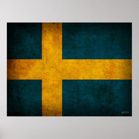 Sweden Flag Distressed Poster Print
