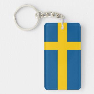 Sweden Flag Double-Sided Rectangular Acrylic Keychain