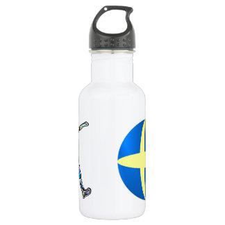 Sweden flag football soccer stainless steel water bottle