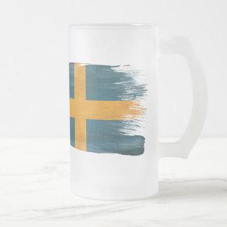Sweden Flag Frosted Glass Beer Mug