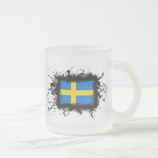 Sweden Flag Frosted Glass Coffee Mug