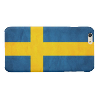 Sweden Flag Grunge Glossy iPhone 6 Plus Case
