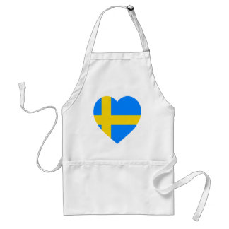 Sweden Flag Heart Adult Apron