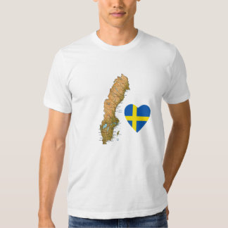 Sweden Flag Heart and Map T-Shirt
