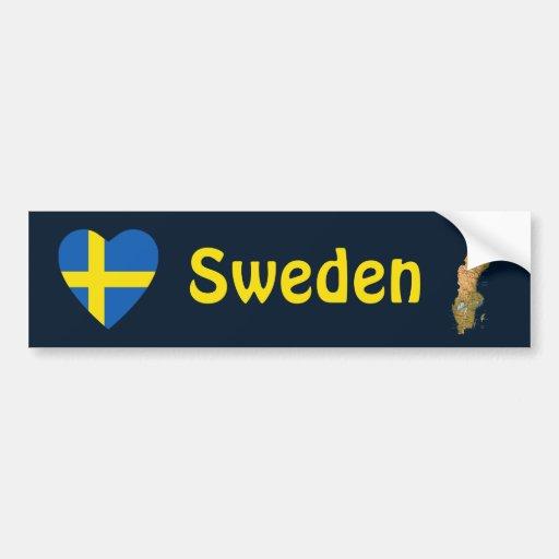 Sweden Flag Heart + Map Bumper Sticker Car Bumper Sticker