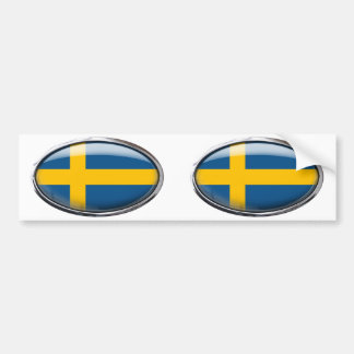 Sweden Flag in Glass Oval Car Bumper Sticker