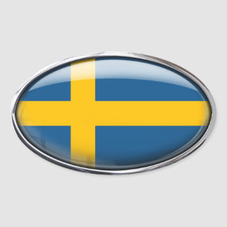 Sweden Flag in Glass Oval (pack of 4) Oval Sticker