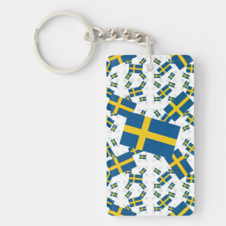 Sweden Flag in Multiple Layers Askew Keychain