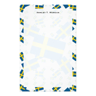 Sweden Flag in Multiple Layers Askew Customized Stationery